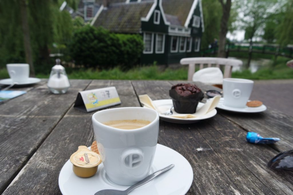 Morning coffee Zaanse Schans windmill village
