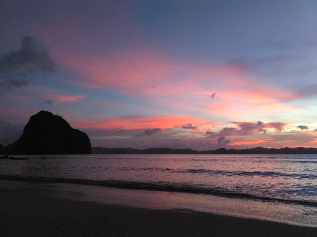 Romantic sunset in El Nido Palawan Philippines