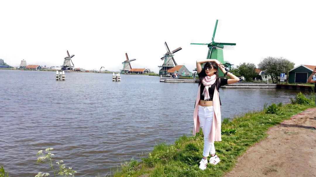 Zaanse Schans windmill village in dutch town holland